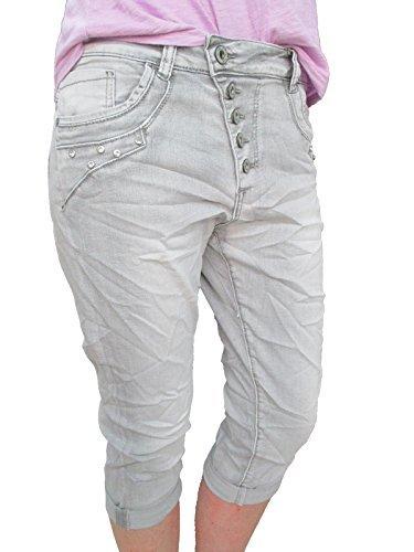 ffbde9a8f063 Karostar by Lexxury Damen Baggy Boyfriend Stretch Shorts Capri Bermuda  Krempel Hose Knopfleiste Strass Steinchen Grey