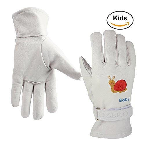 Größe Leder-arbeits-handschuhe Klein (OZERO Handschuhe Arbeit Kinder mit Verstellbaren Klettverschlüsse Echtem Schafleder Handschuhe für Baumarkt Garten Gestickt mit Schnecken(XL))
