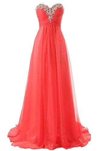 JAEDEN Abendkleid Lang Chiffon Ballkleid Brautjungfernkleid Trägerlos Damen Rot