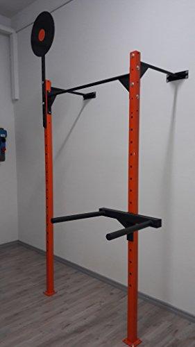 CrossRig-Wall-Rack - Estructura de pared de 120 cm de ancho para sentadillas con barra para flexiones/...