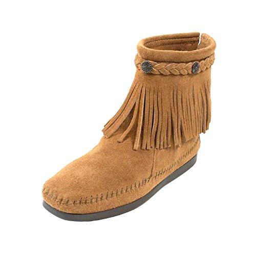 Minnetonka Hi Top Back Zipper knöchelhohe Fransen Damen Booties aus Wildleder mit Fußbett und Laufsohle aus Gummi, Farbe:Taupe, Größe:41 -