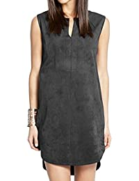 Ladies Black Faux Suede Sleeveless Dress in UK Sizes 8 - 18