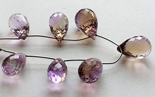 ONE 1 Strand Natural Ametrine Micro Faceted Tear Drops, Ametrine Necklace, Ametrine Drop Beads, 11.5x20mm - 12x21mm, 7 Inch Code-RR-15383 ()