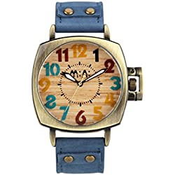 Mode Leuchtend Lederriemen Quarz Armbanduhr Unisex