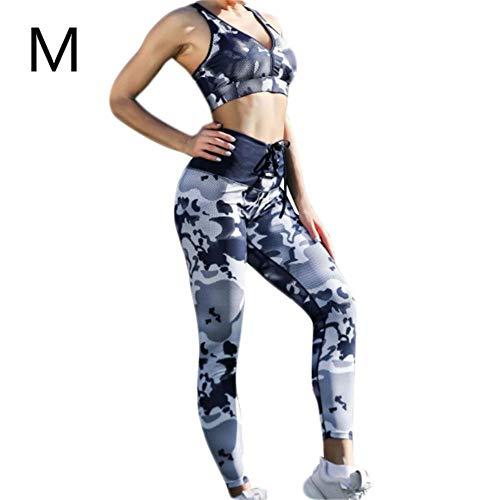 Miju Frauen Camouflage gestreifte Drawstring Leggings Bauch Kontrolle Fitness Sport Yoga Hosen Drawstring Camouflage Sport