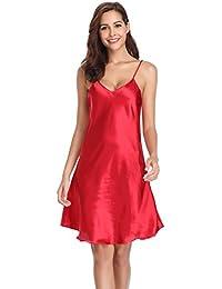 13d10faec5 Vlazom Women Negligees Satin Nightdress Spaghetti Strap Chemises Slip V  Neck Sleepwear Nightgown