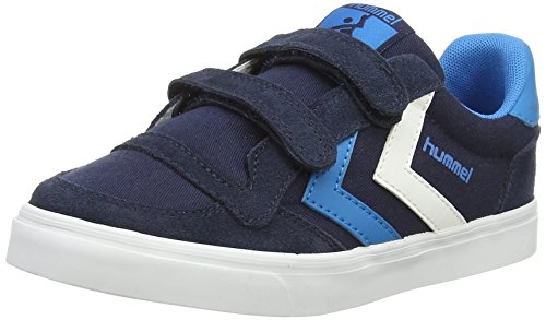 Hummel Stadil Canvas Jr Lo, Baskets Basses mixte enfant Bleu (Dress 7459)