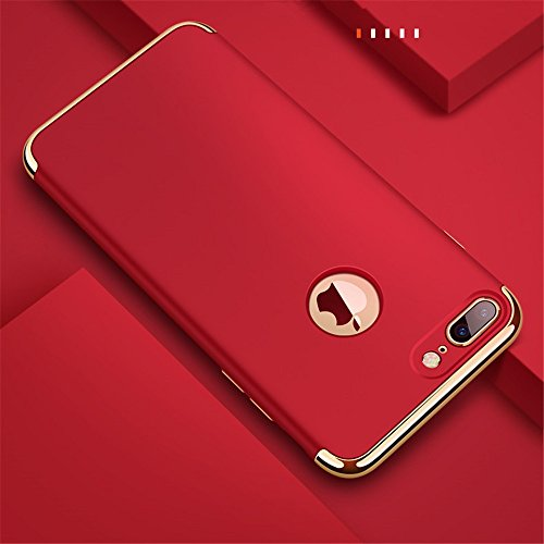 "iPhone 7 Plus Hülle,Heyqie 3 in 1 Ultra-thin 360 Full Body Anti-Scratch Shockproof Hard PC Non-Slip Skin Smooth Back Cover Case with Electroplate Bumper For Apple iPhone 7 Plus 5.5"" - Black Red"