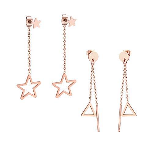 Pendientes de tuerca para mujer de lujo, chapados en oro, de acero inoxidable, con forma de estrella y triángulo, de oro rosa