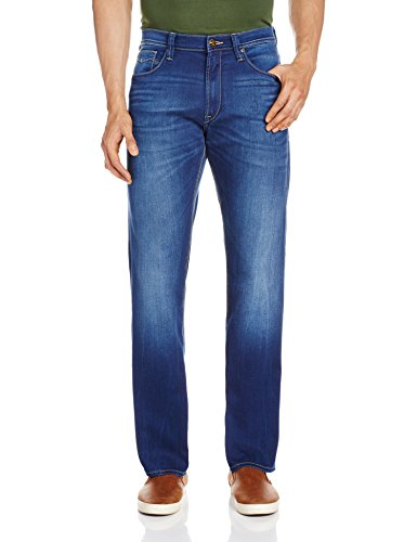 Lee Men's Bomber Relaxed Fit Jeans (8907222527235_LEJN5536_34W x 33L_All Over Brushed Crumpled Blue)