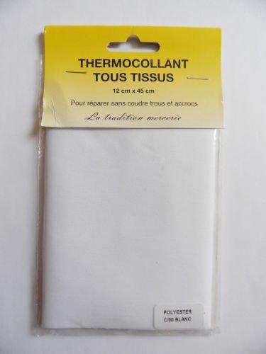 Tessuto termoadesivo, 12 x 45 cm, colore: bianco, pezzo di riparazione per tutti i tessuti