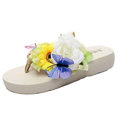 YOUJIA Femmes Boho Fleurs Tongs été Plage Compensées Plateforme Sandales #1 Beige
