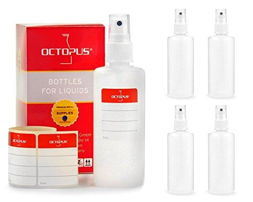 Octopus 5 x 100 ml Sprühflaschen mit Fingerzerstäuber, Plastikflaschen mit Pumpsprüher, Kunststoffflaschen aus HDPE mit Zerstäuber, inkl. Beschriftungsetiketten