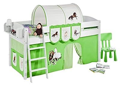 """Cama semi alta """"IDA BLANCA"""" con cortinas convertible en cama baja - Caballos verde, 4105 Doble"""