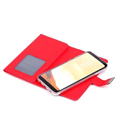 Cross Lines Texture Dreifach Typ PU Leder Brieftasche Case mit freistehenden TPU Back Cover Card Slots für Samsung Galaxy S8 Plus ( Color : Gold ) Red