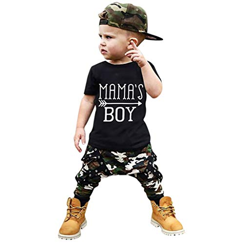 0-4 Jahre Baby 2PCS Outfits, sunnymi ® Kleinkind Baby Boy Kurzarm Brief Drucken T-Shirt Tops + Camouflage Hosen Sets