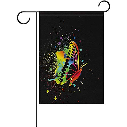 HujuTM Hipster Rainbow Ink Butterfly Polyester Garden Flag House Banner 12 x 18 inch, Two Sided Welcome Yard Decoration Flag for Wedding Party Home Decor