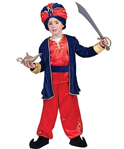 Kostüm Sultan Jamaal Kind Größe 152 Kinderkostüm Flaschengeist Karneval Fasching rot blau (Kinder Für Sultan Kostüm)