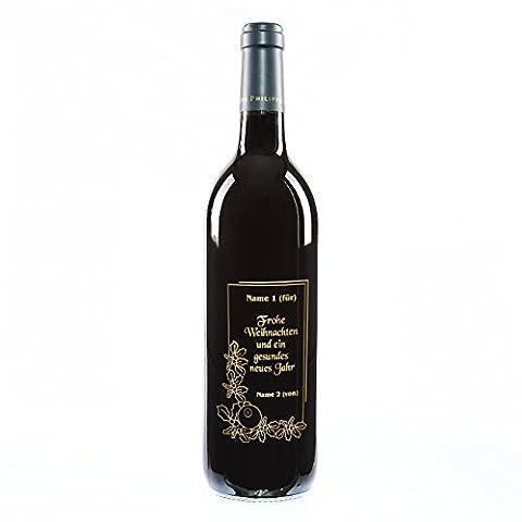 private Wine Rothschild Bordeaux trocken (1 x 0.75 l) Weinflasche mit Weihnachtsmotiv - Kranz - und kostenloser Gravur in gold