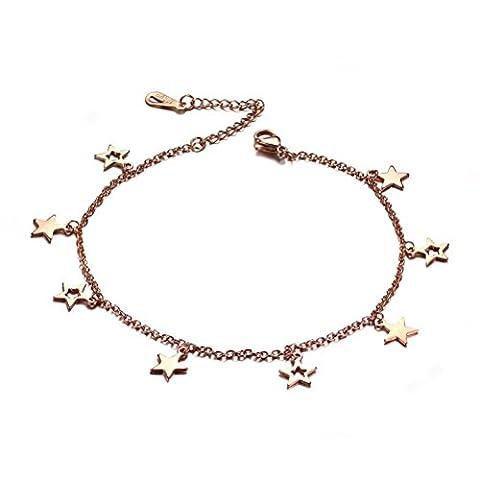 vnox en acier inoxydable plaqué or rose Chaîne Star Charme pied Fiançailles Cheville Réglable pour femmes et filles