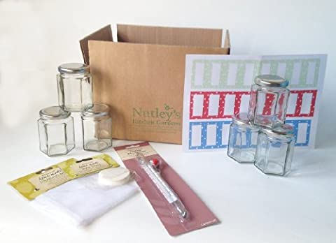 Jam-making starter box kit set 6 jars, labels, thermometer, wax discs by Nutley's
