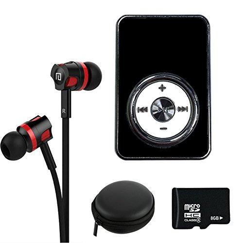 Preisvergleich Produktbild NEOGADS Mp3 Player Crome Clip Set + 8GB Micro SD Karte + Bass Headset + Etui zum Verstauen (Schwarz)