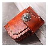 DXL-Men's Bags Vintage handgemachte Leder Rindsleder Brieftasche Herren Kurze pflanzlich gegerbte Haut japanischen Stil Tuch Ami 咔叽 Türkis Herrentaschen (Color : Brown, Size : S)