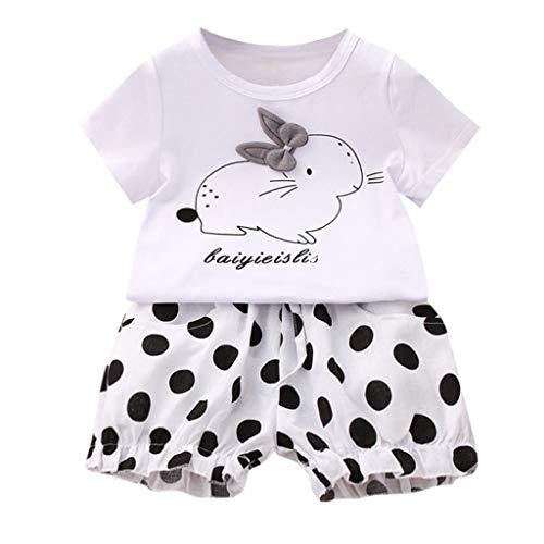 Ostern Kleinkind Baby Kinder Mädchen Kaninchen Tops + Dot Kurze Hosen Lässige Outfits (Weiß,100) ()