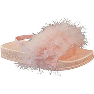 Fashion Thirsty Kids Girls Faux Fur Sliders Summer Sandals Slides Beach Holiday Flip Flops Size