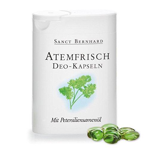Sanct Bernhard Atemfrisch Deo-Kapseln mit Pfefferminzöl, Menthol & Chlorophyll - 170 Kapseln