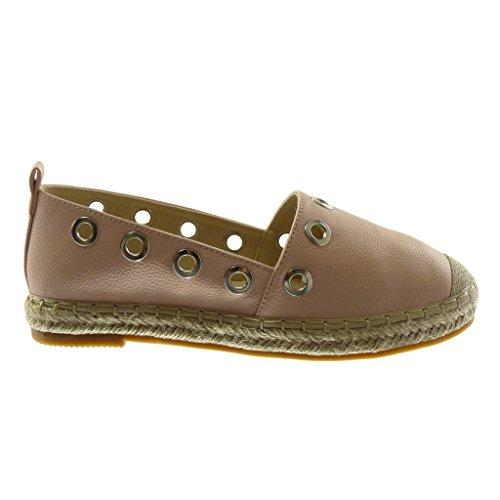 Angkorly Damen Schuhe Espadrilles - Slip-On - Perforiert - genarbtem - Seil Blockabsatz 2.5 cm Rosa
