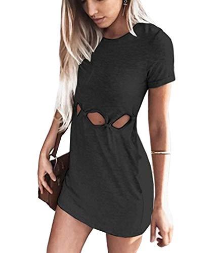 Woweal Minikleid Damen Sommer Mode T-Shirt-Kleid Einfarbig Kurzarm Kleider Tunikakleid Partykleid Kleid Dress (Schwarz, M)