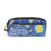 Ahomy Pencil Case Abstract Oil Painting Moon Starry Sky PU Leather Pen Bag Pouch Walle Makeup Cosmetic Bag of Students or Women