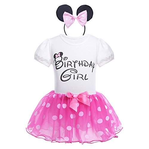 Tiaobug Kleidung Set Baby Mädchen Kleider Baumwolle Strampler Prinzessin Kostüm Neugeborene Tutu Kleid (80-86(Herstellergröße: 75), Rose)