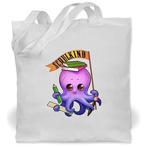 Kostüm Abc Gute - Shirtracer Einschulung und Schulanfang - Schulkind Octopus - Unisize - Weiß - WM101 - Stoffbeutel aus Baumwolle Jutebeutel lange Henkel