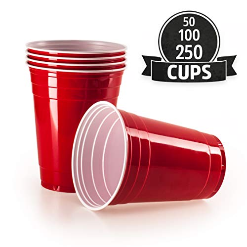 Vivaloo 50 Plastikbecher Trinkbecher - Bierpongset Red Cups, Rote Beer Pong Becher, Partybecher 473ml 16oz -