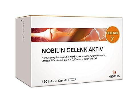 NOBILIN GELENK AKTIV 120 Gelenk Tabletten mit Glucosamin + Chondroitin – 2 Monatsvorrat – MULTIVITAMIN PRÄPARAT, Gelenkkapseln mit Glucosaminsulfat Pulver + Omega-3 & Vitamin C, Kapseln bei Gelenkschmerzen