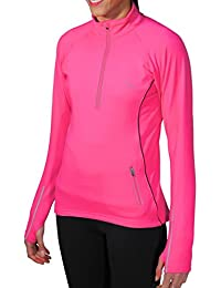 WOMENS More Mile Vancouver Thermal Long Sleeve Hi-Viz Hot Pink running top MM2434