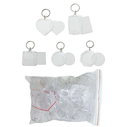Mehrondo 50 Stück Foto Schlüsselanhänger Rohlinge EX208 in 5 unterschliedlichen Formen