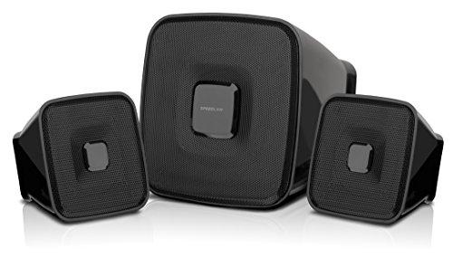 Speedlink Aktives 2.1 Lautsprechersystem - QUAINT 2.1 Subwoofer System (naturgetreue Klangübertragung - perfekte Multimedia-Eignung für Spiele, Musik und Filme - 7 W RMS Ausgangsleistung) für Computer / Laptop schwarz