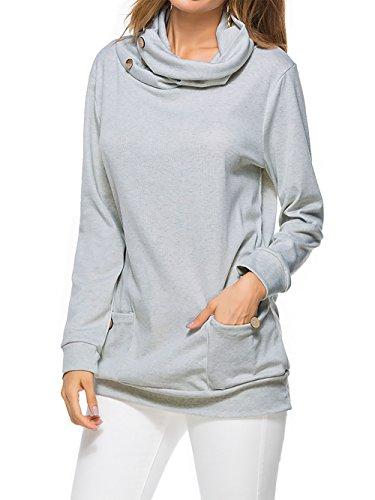Pulls femme Col roulé femme hivers Tops manches longues T-shirt Grand taille Sweat shirt Lâche Couleur unie Deux poche Coton Gris claire