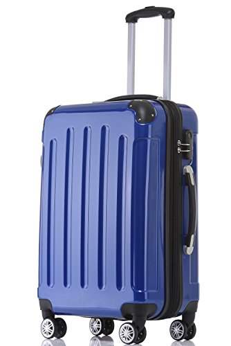 BEIBYE Hartschalen Koffer Trolley Rollkoffer Reisekoffer 4 Zwillingsrollen Polycabonat (Blau, 76cm -110L)