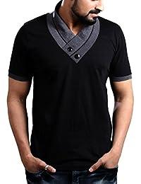 "Seven Rocks Men's V-Neck Half Sleeves Cotton Tshirt/Tee ""Unique Neck"""