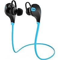 AUKEY Auricolare Bluetooth 4.1 Cuffia Stereo Sport in ear con Microfono per Telefoni Cellulari di iOS e Android iPhone Samsung e Altri Dispositivi come iPad Tablet Computer (Blu e Nero)