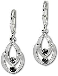 SilberDream Boucles d'oreilles - boucles d'oreilles Glamour zircon noir - argent sterling 925 pour femme - SDO522S