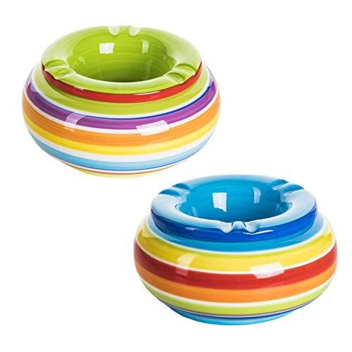 2er Set Windaschenbecher Tischaschenbecher mit Deckel bunt gestreift hochwertiger Dolomit Keramik -