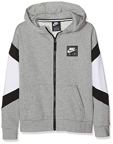 Nike Jungen B Nk Air Hoodie Fz Sportkapuzenpullover, Grau (Dk Grey Heather/White Black 063), 122 (Herstellergröße: X-Small) -