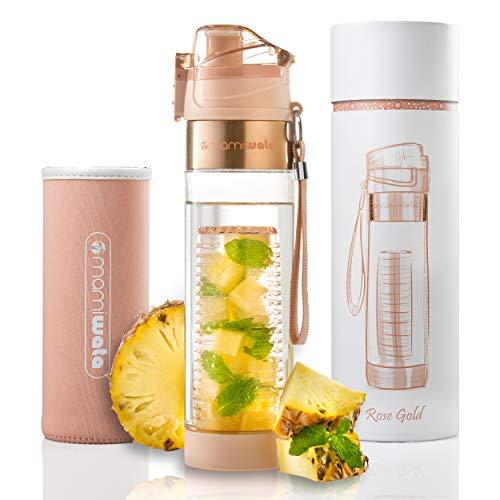 MAMI WATA Fruit-Ei Wasser Flasche-Schöne Geschenk-Box-Einzigartiges Design-Frei Fruit infundiert Wasser Rezepte eBook und isolierender Sleeve-Maurerhammer, Rose Gold - Mami-box