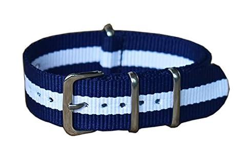 20 mm de style bleu / blanc NATO militaire luxueux nylon durable bandes sangles de montres remplacements pour les hommes