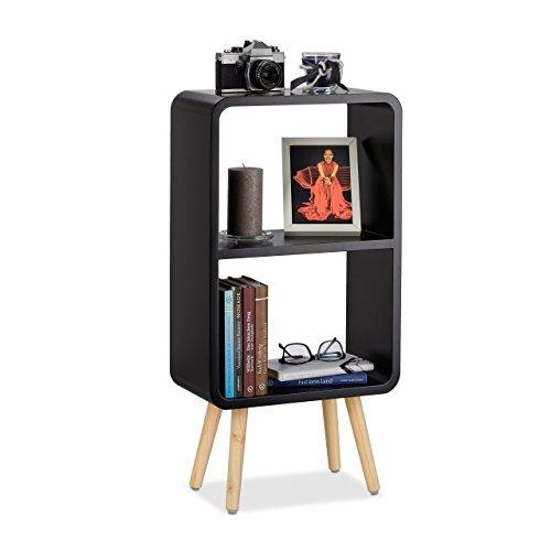 Relaxdays Étagère 2 compartiments bibliothèque bois MDF 4 pieds commode tablette table chevet, noir